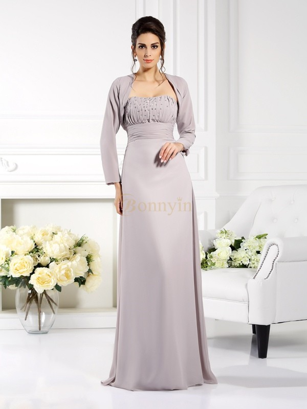 Grey Chiffon Strapless A-Line/Princess Floor-Length Mother of the Bride Dresses