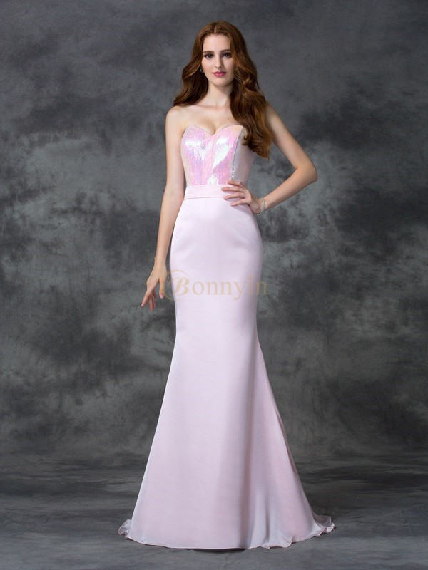 Pearl Pink Satin Chiffon Sweetheart Trumpet/Mermaid Floor-length Bridesmaid Dresses