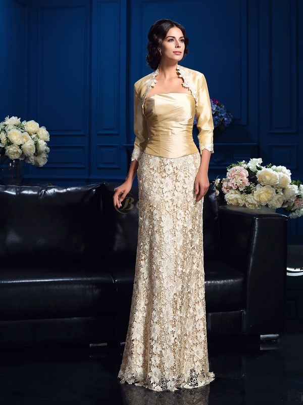 Champagne Lace Strapless A-Line/Princess Floor-Length Mother of the Bride Dresses