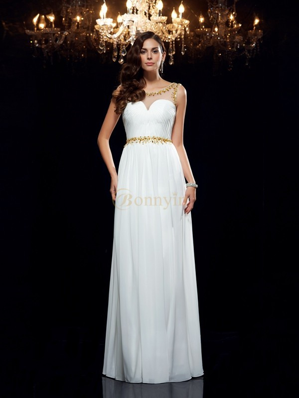 White Chiffon Sheer Neck A-Line/Princess Floor-Length Prom Dresses