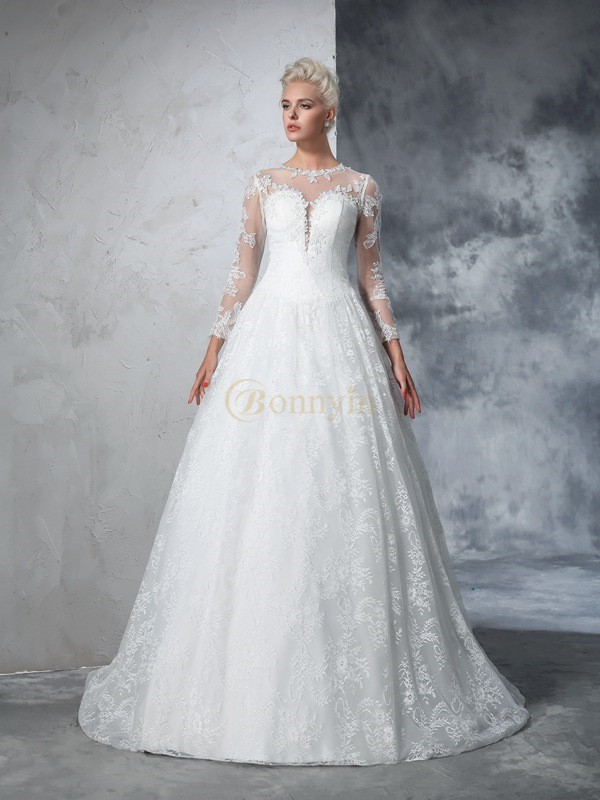 Ivory Lace Jewel Ball Gown Court Train Wedding Dresses