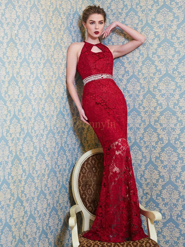 Red Lace Jewel Sheath/Column Floor-Length Dresses