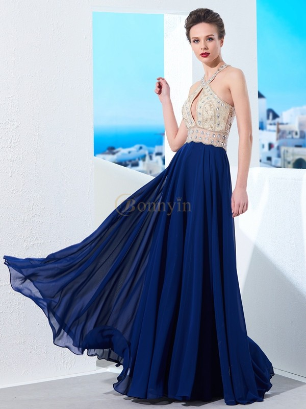 Dark Navy Chiffon Straps A-Line/Princess Floor-Length Dresses
