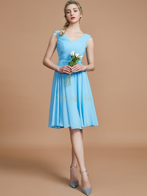 Light Sky Blue Chiffon V-neck A-Line/Princess Short/Mini Bridesmaid Dresses