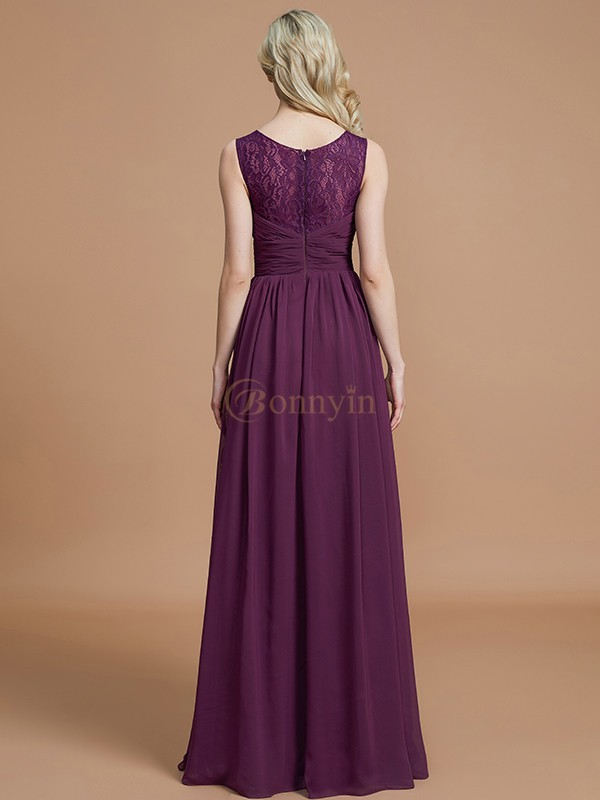 Grape Chiffon V-neck A-Line/Princess Floor-Length Bridesmaid Dresses