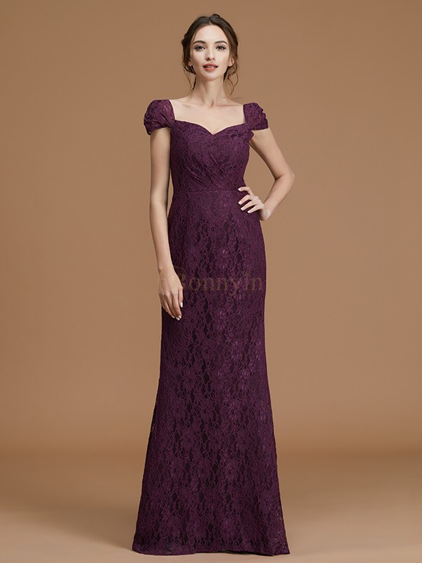 Grape Satin Sweetheart Sheath/Column Floor-Length Bridesmaid Dresses