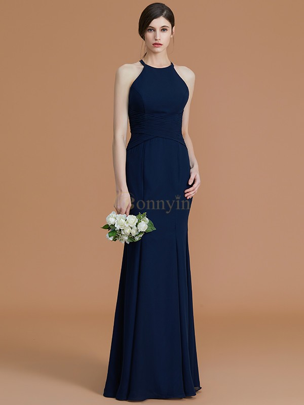 Dark Navy Chiffon Halter Trumpet/Mermaid Floor-Length Bridesmaid Dresses