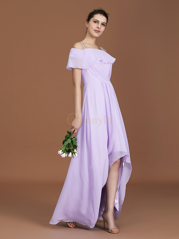 Lilac Chiffon Off-the-Shoulder A-Line/Princess Floor-Length Bridesmaid Dresses