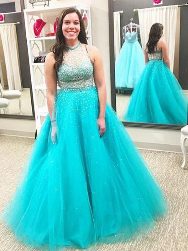 Blue Tulle High Neck Ball Gown Floor-Length Plus Size Dresses