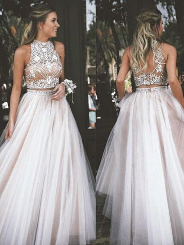 Ivory Tulle High Neck A-Line/Princess Floor-Length Prom Dresses
