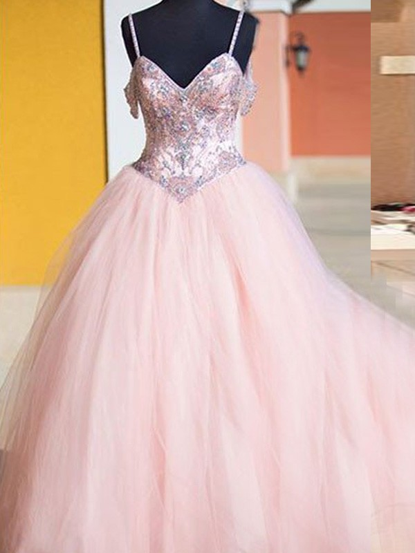 Pink Tulle Spaghetti Straps Ball Gown Floor-Length Prom Dresses