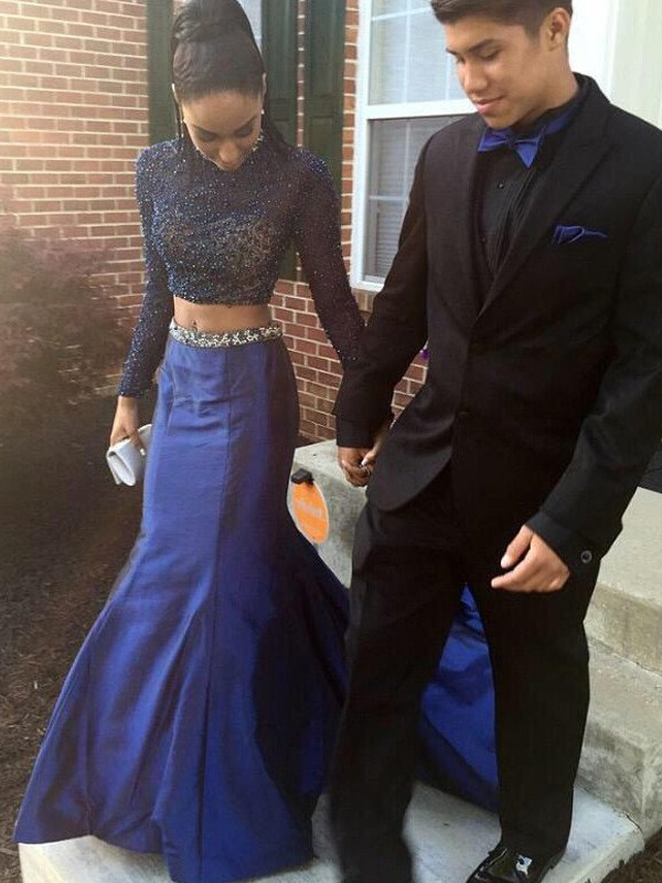 Royal Blue Taffeta High Neck Trumpet/Mermaid Court Train Prom Dresses