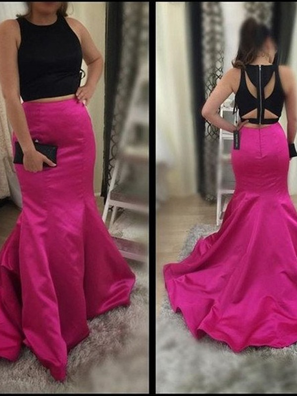 Fuchsia Satin Scoop Trumpet/Mermaid Sweep/Brush Train Prom Dresses