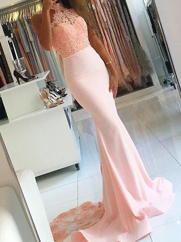 Pink Satin High Neck Trumpet/Mermaid Sweep/Brush Train Prom Dresses