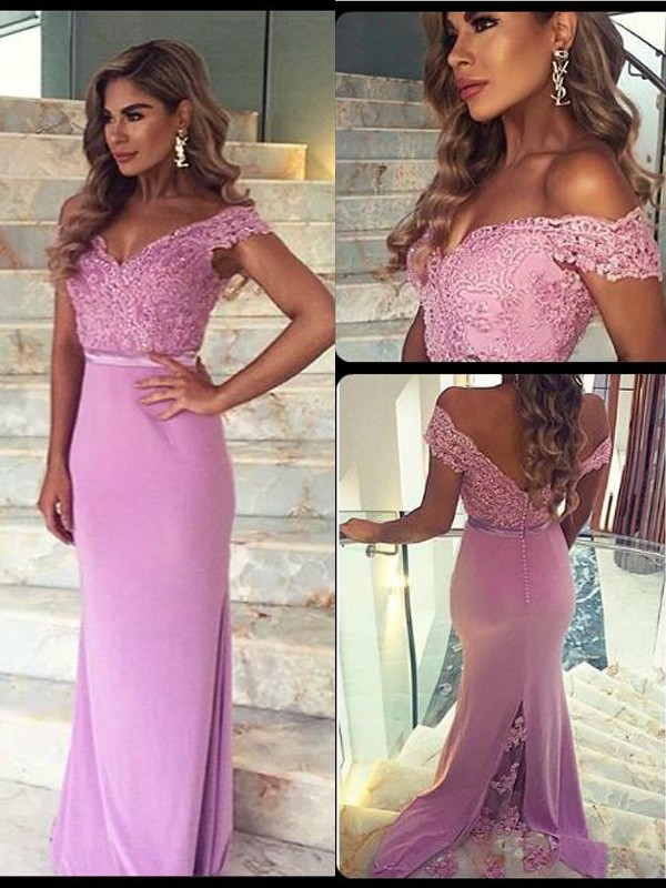 Lilac Stain Off-the-Shoulder Sheath/Column Floor-Length Prom Dresses