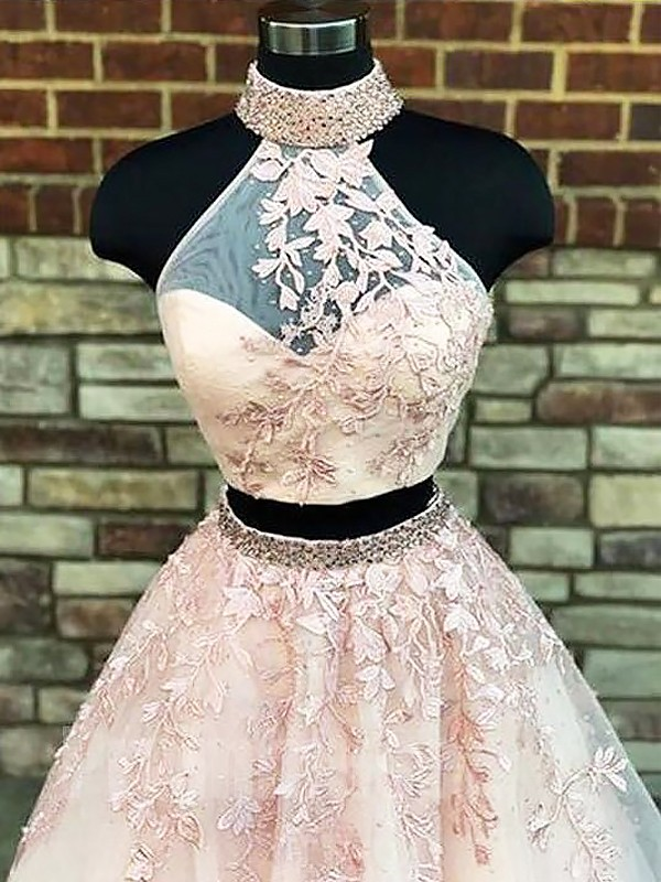 Champagne Tulle High Neck A-Line/Princess Sweep/Brush Train Dresses