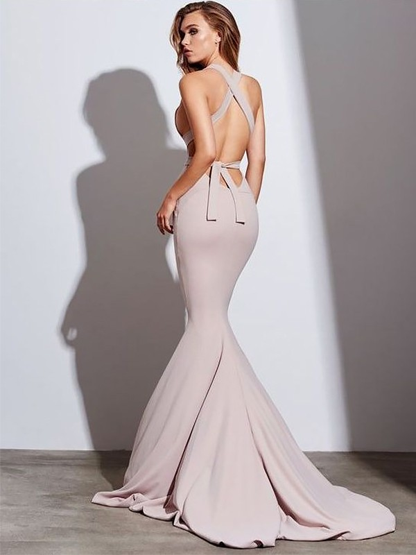 Pearl Pink Spandex V-neck Trumpet/Mermaid Sweep/Brush Train Dresses