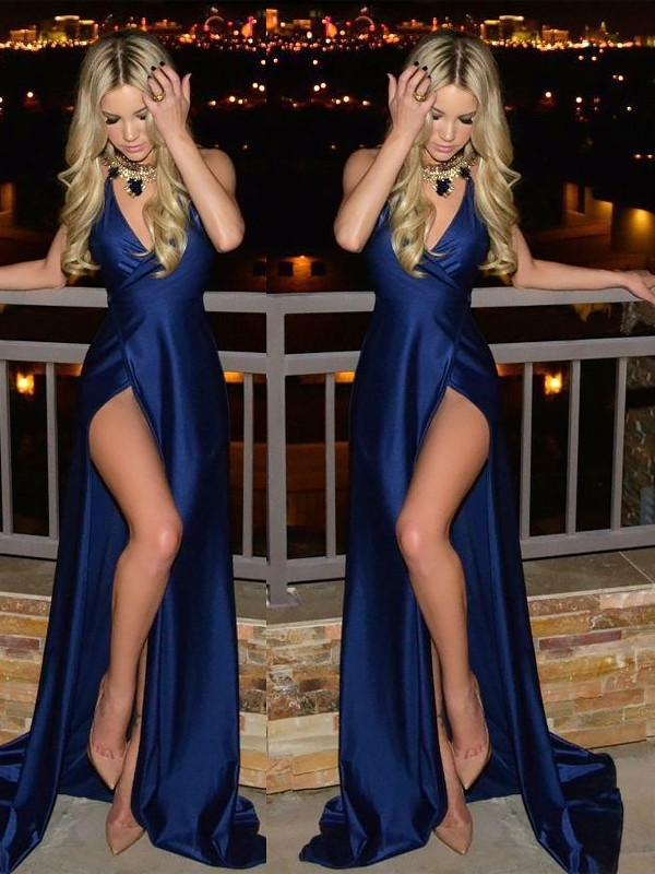Dark Navy Silk like Satin V-neck A-Line/Princess Sweep/Brush Train Dresses