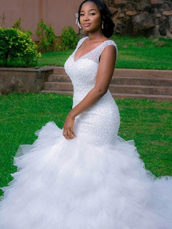 White Organza V-neck Trumpet/Mermaid Cathedral Train Wedding Dresses