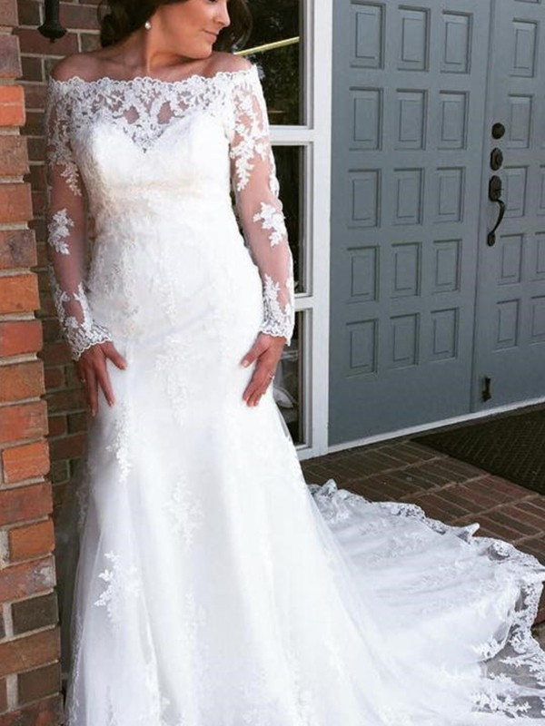 White Tulle Off-the-Shoulder Trumpet/Mermaid Cathedral Train Wedding Dresses