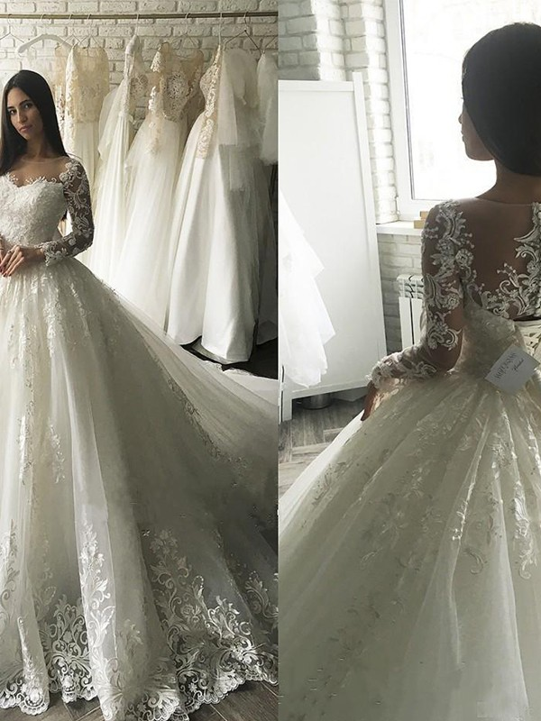 Ivory Tulle Scoop Ball Gown Court Train Wedding Dresses