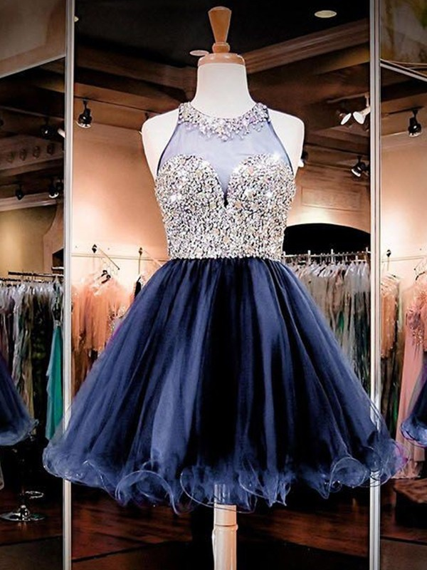 Dark Navy Tulle Bateau A-Line/Princess Short/Mini Dresses