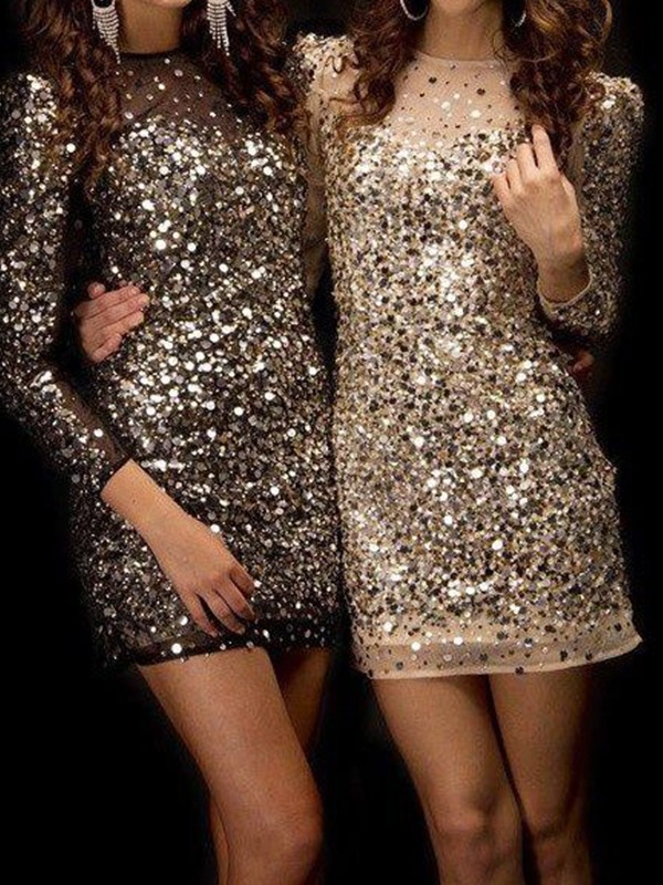 Gold Sequins Bateau Sheath/Column Short/Mini Dresses