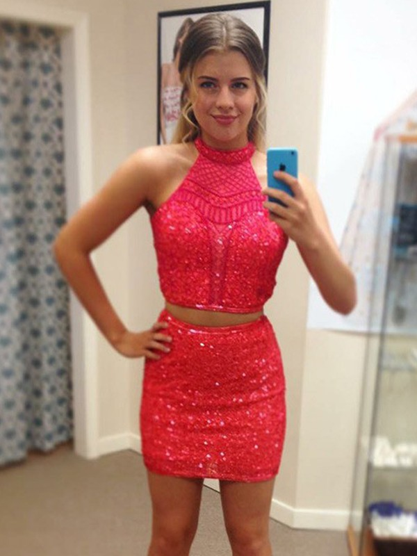 Watermelon Sequin Halter Sheath/Column Short/Mini Two Piece Dresses