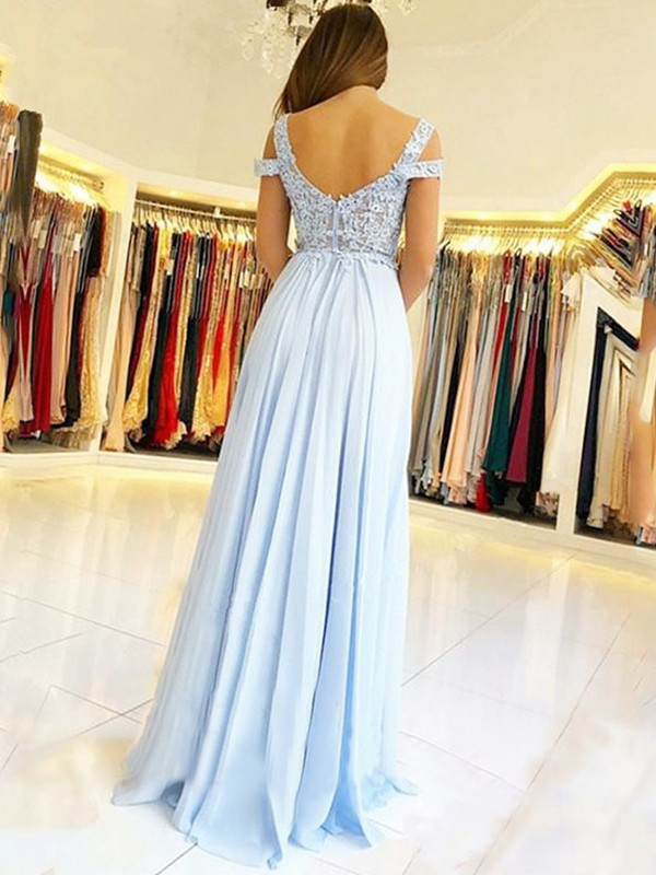 Light Sky Blue Chiffon Off-the-Shoulder A-Line/Princess Floor-Length Dresses