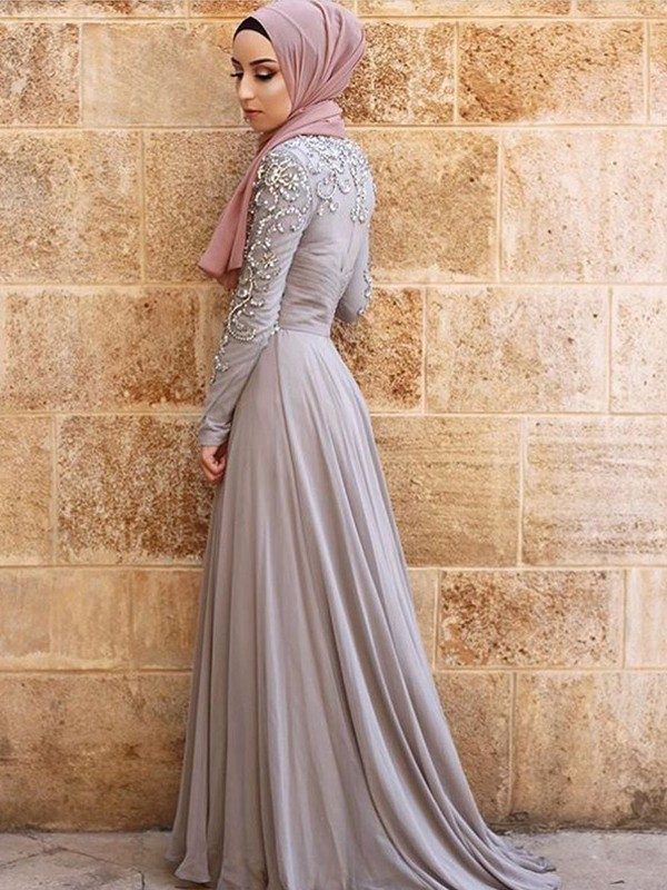 Grey Tulle Scoop A-Line/Princess Sweep/Brush Train Dresses