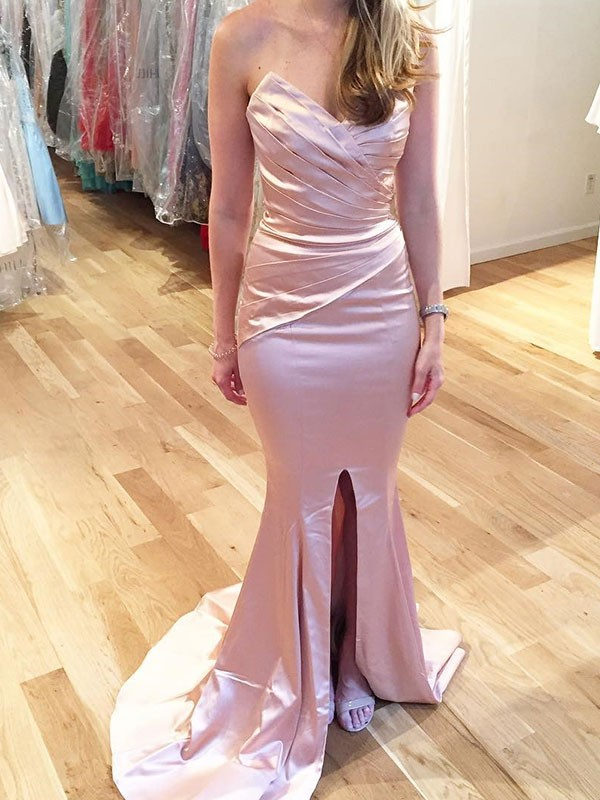 Pink Satin Sweetheart Trumpet/Mermaid Sweep/Brush Train Dresses