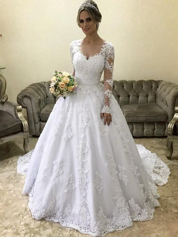 White Satin V-neck Ball Gown Court Train Wedding Dresses