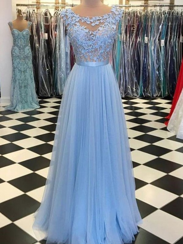 Light Sky Blue Tulle Scoop A-Line/Princess Floor-Length Dresses