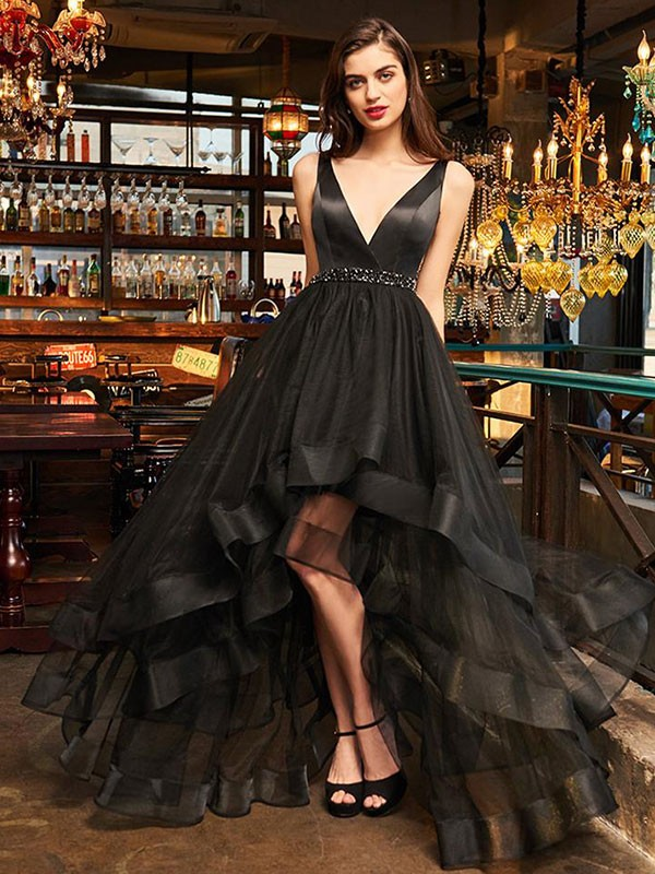 Black Organza V-neck A-Line/Princess Asymmetrical Dresses
