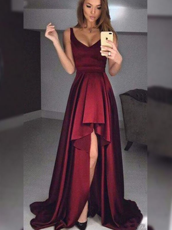Burgundy Satin Straps A-Line/Princess Asymmetrical Dresses