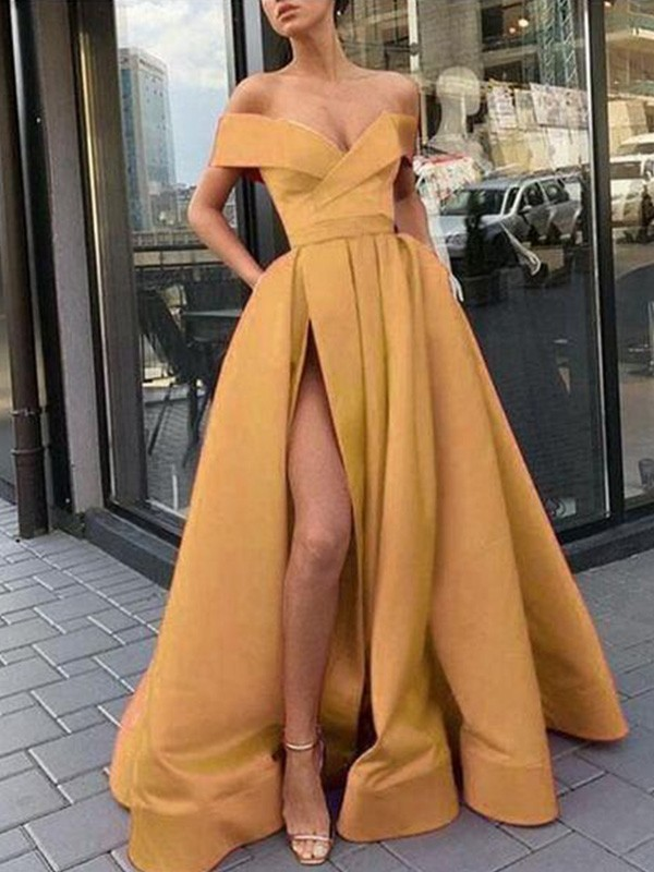 Yellow Satin Off-the-Shoulder A-Line/Princess Sweep/Brush Train Dresses
