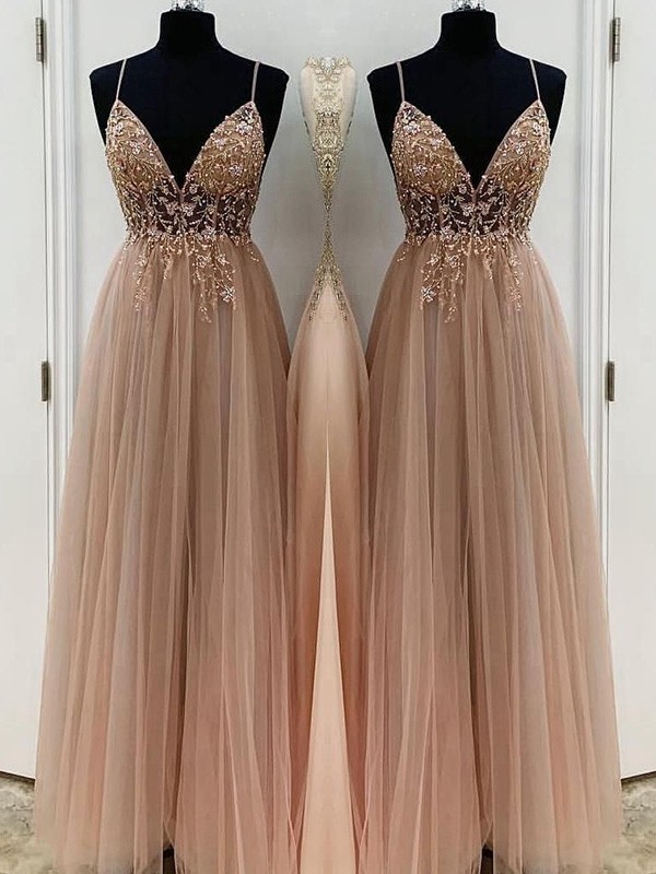 Champagne Tulle Spaghetti Straps A-Line/Princess Floor-Length Dresses