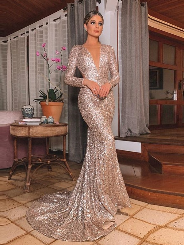 Champagne Sequins V-neck Trumpet/Mermaid Sweep/Brush Train Dresses
