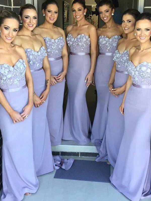 Lilac Satin Sweetheart Sheath/Column Sweep/Brush Train Bridesmaid Dresses