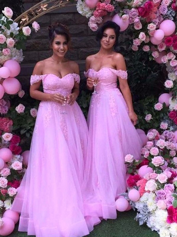 Lilac Tulle Off-the-Shoulder A-Line/Princess Floor-Length Bridesmaid Dresses