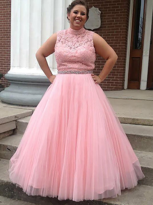 Pink Tulle High Neck Ball Gown Floor-Length Plus Size Dresses