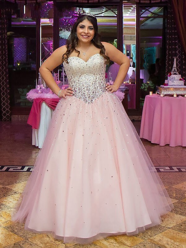 Pearl Pink Tulle Sweetheart Ball Gown Floor-Length Plus Size Dresses