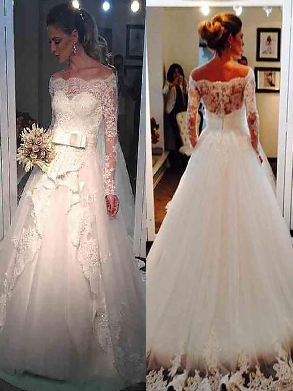 Ivory Tulle Off-the-Shoulder Ball Gown Sweep/Brush Train Wedding Dresses