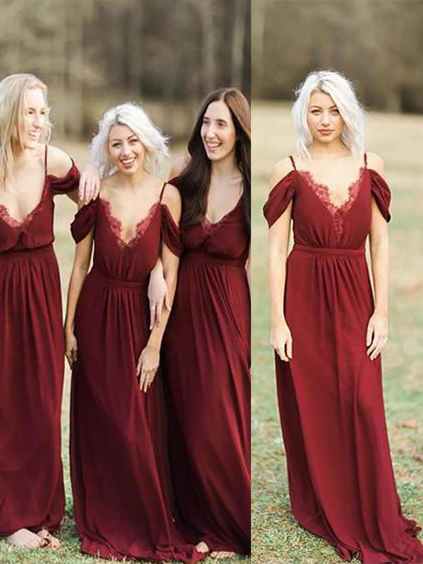 Burgundy Chiffon Spaghetti Straps A-Line/Princess Floor-Length Bridesmaid Dresses