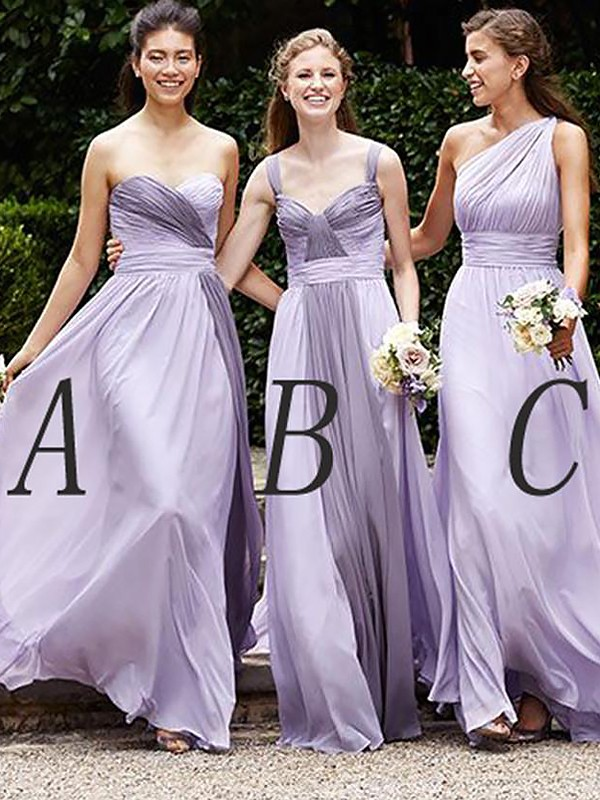 Lilac Chiffon A-Line/Princess Floor-Length Bridesmaid Dresses