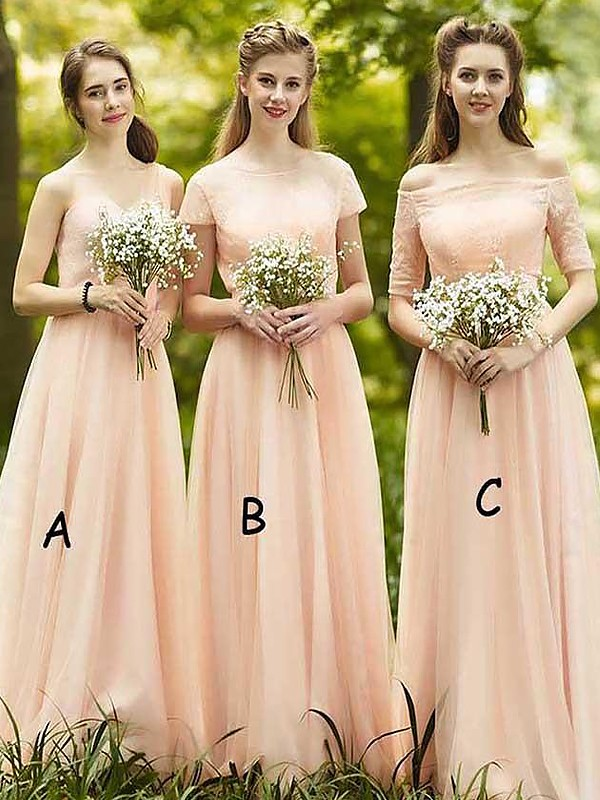 Champagne Chiffon A-Line/Princess Floor-Length Bridesmaid Dresses