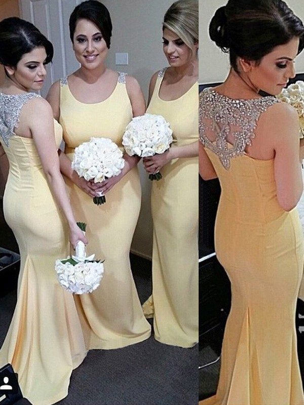 Daffodil Satin Scoop Trumpet/Mermaid Floor-Length Bridesmaid Dresses
