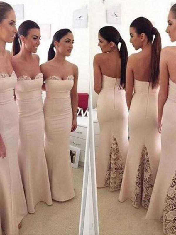 Ivory Satin Sweetheart Trumpet/Mermaid Floor-Length Bridesmaid Dresses