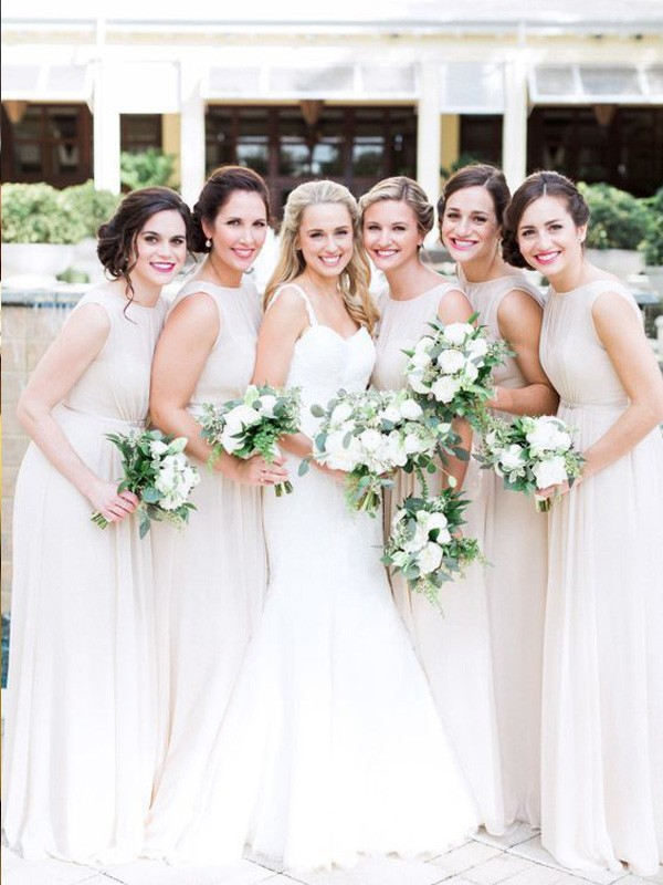 Ivory Chiffon Scoop A-Line/Princess Floor-Length Bridesmaid Dresses