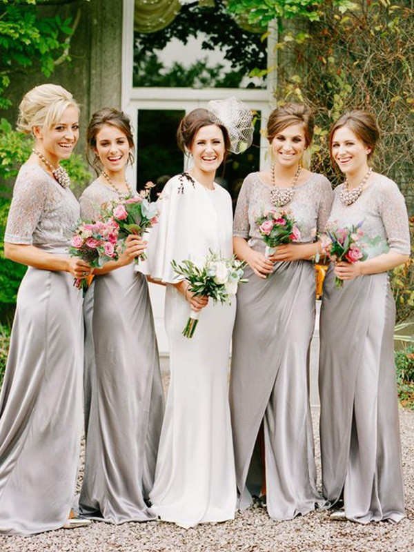 Grey Satin Scoop A-Line/Princess Floor-Length Bridesmaid Dresses